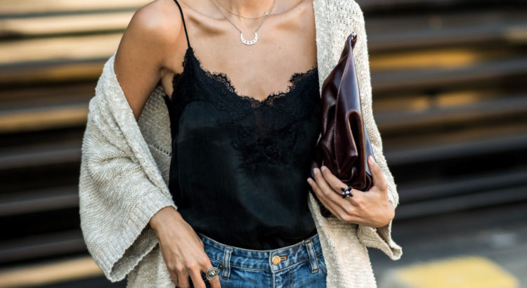 The Best Outfit Ideas Of The Week: Fashion blogger 'Ms Treinta' wearing a beige oversized cardigan, a black cami top, mom jeans, nude heels and a burgundy clutch. Spring outfit, fall outfit, casual outfit, night out outfit, dinner outfit, easy outfit, simple outfit, cardigan outfit.