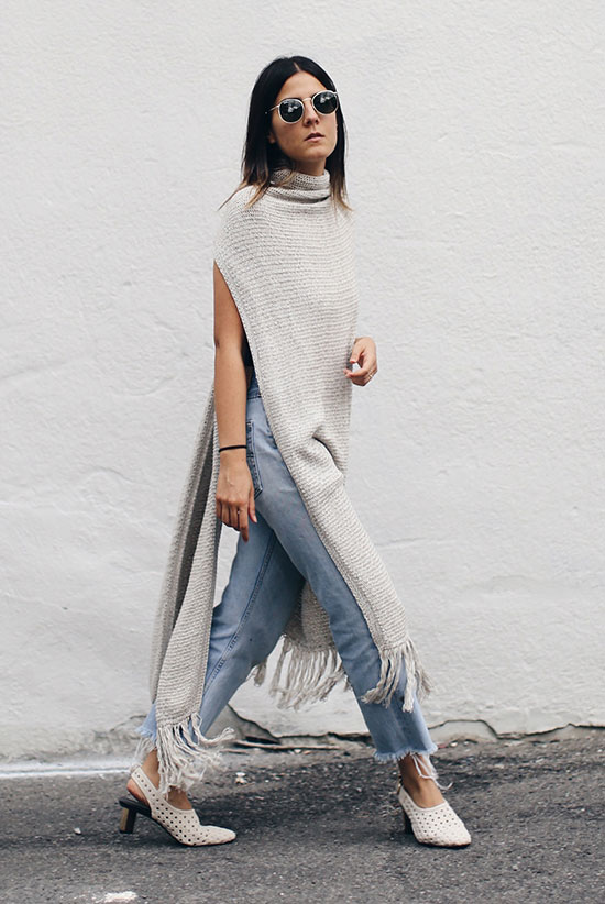 The Best Outfit Ideas Of The Week: Fashion blogger 'The Fashion Medley' wearing a grey fringe long vest, a black cami top, raw hem crop jeans, white slingback heels and round sunglasses. spring outfit, fall outfit, casual outfit, minimal outfit, edgy outfit, fall trends 2016, street style, boho chic outfit, boho outfit.