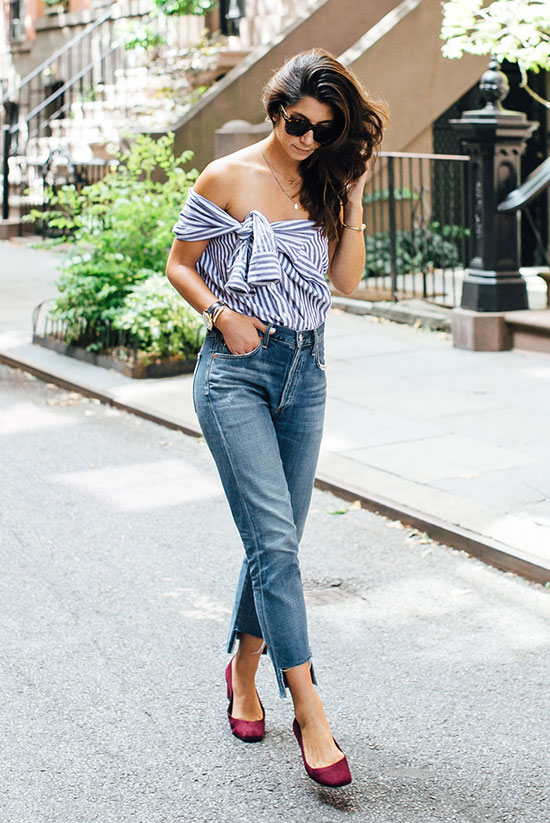The Best Outfit Ideas Of The Week: Fashion blogger 'This Time Tomorrow' wearing a blue stripe shirt as an off the shoulder top, raw hem crop jeans, burgundy heels and brown sunglasses. Summer outfit, spring outfit, casual outfit, comfy outfit, night out outfit, summer outfit, summer trends 2016.