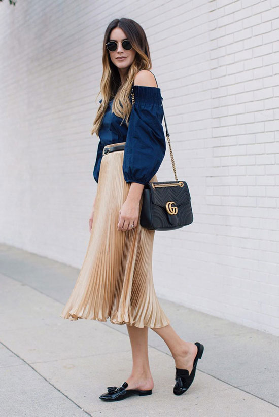The Best Outfit Ideas Of The Week: Fashion blogger 'Thrifts & Threads' wearing a denim off the shoulder top, a black skinny belt, a golden pleated midi skirt, black mule flats, round sunglasses and a black shoulder bag. Spring outfit, fall outfit, summer outfit, comfy outfit, casual outfit, night out outfit, fall trends 2016.