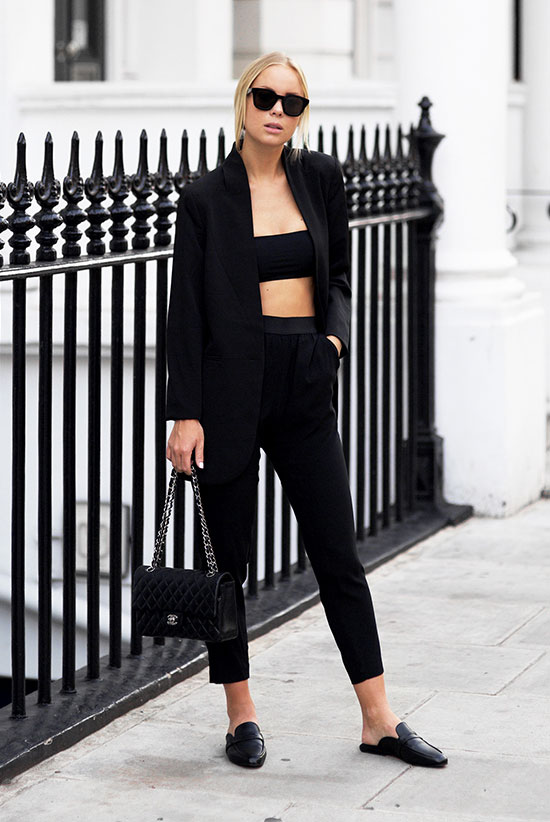 The Best Outfit Ideas Of The Week: Fashion blogger 'Victoria Tornegren' weairng a black velvet blazer, a black bralette, black ankle pants, black flat mules, black sunglasses and a black shoulder bag. Summer outfit, fall outfit, spring outfit, night out outfit, party outfit, street style, all black outfit, comfy outfit.
