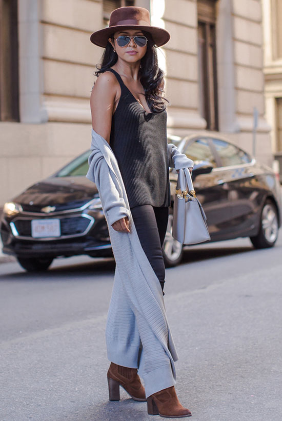 The Best Outfit Ideas Of The Week: Fashion blogger 'Walk in wonderland' wearing a black knit tank, black skinny jeans, brown ankle booties, a grey long cardigan, a brown hat and aviator sunglasses. Fall outfit, casual outfit, cardigan outfit, street style, street chic style, boho chic outfit, boho outfit.