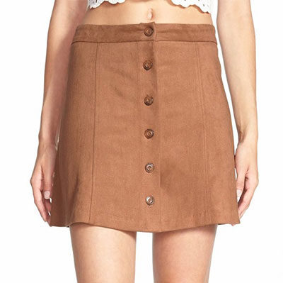 Wayf Faux Suede Skirt - brown suede mini skirt, brown suede a-line mini skirt, brown suede skirt, brown suede a-line skirt, brown suede button front skirt