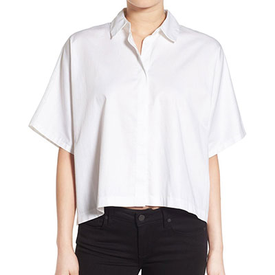 Kendall + Kylie Back Lace-Up Shirt - white crop shirt, white short sleeve shirt, white boxy shirt, white elbow sleeve shirt