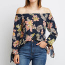 Charlotte Russe Off-The-Shoulder Top - blue floral off the shoulder top, navy floral off the shoulder top