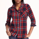 Old Navy Classic Flannel Shirt - red plaid shirt, red check shirt, red flannel shirt