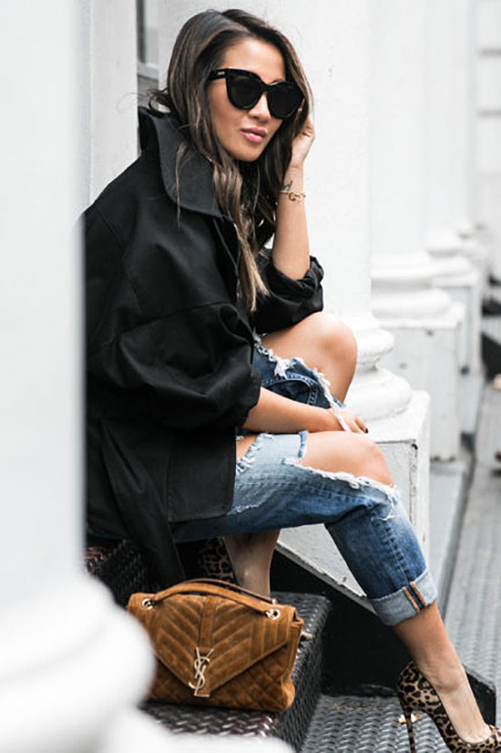 The Best Outfit Ideas Of The Week: Fashion blogger 'Wendy's Lookbook' Wearing a black oversized jacket, a black mock neck top, distressed boyfriend jeans, leopard print heels, a brown suede shoulder bag and black sunglasses. Fall outfit, winter outfit, casual outfit, dinner outfit, night out outfit, street style, street chic style.