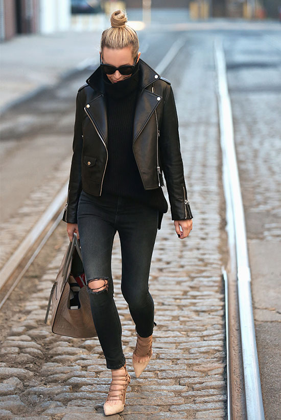 The Best Outfit Ideas Of The Week: Fashion blogger 'Brooklyn Blonde' wearing a black leather jacket, a black turtleneck sweater, black washed skinny jeans, nude lace up heels, black sunglasses and a nude handbag. Fall outfit, winter outfit, casual outfit, street style, street chic style, all black outfit, leather jacket outfit.