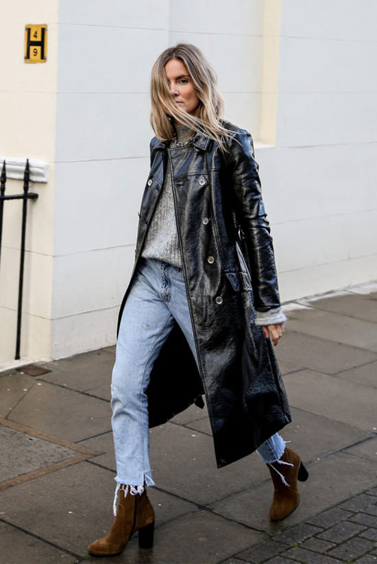 The Best Outfit Ideas Of The Week: Fashion blogger 'Fashion Me Now' wearing a black leather long coat, a grey sweater, raw hem crop jeans and brown sock booties. Fall outfit, winter outfit, casual outfit, fall trends 2016, winter trends 2016, edgy outfit, street stye.