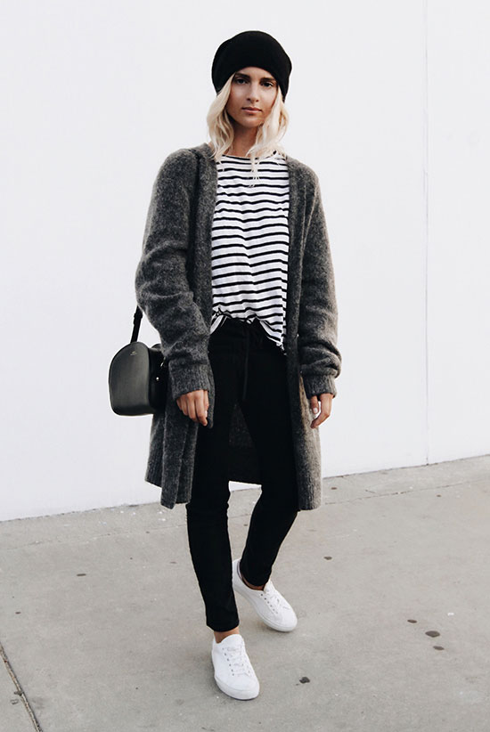 The Best Outfit Ideas Of The Week: Fashion blogger 'Mija Flatau' wearing a grey cardigan, a stripe t-shirt, black skinny jeans, white sneakers, a black beanie and a black shoulder bag. Fall outfit, winter outfit, comfy outfit, casual outfit, athleisure outfit, sneakers outfit, fall layers, fall trends 2016, tomboy outfit, school outfit.