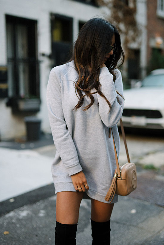 The Best Outfit Ideas Of The Week: Fashion blogger 'Not Your Standard' wearing a grey sweatshirt dress, black suede over the knee boots, aviator sunglasses and a nude shoulder bag. Fall outfit, fall trends 2016, over the knee boots outfit, simple outfit, easy outfit, fall trends 2016, casual outfit.