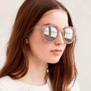 Urban Outfitters Emma Sunglasses - pink sunglasses, pink round sunglasses, pink mirror sunglasses