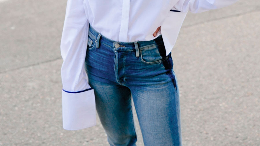 10 Statement Sleeve Outfits To Try For Spring: Fashion blogger 'Harper & Harley' wearing a white cuff shirt, raw hem crop jeans, black slide sandals and black cat eye sunglasses. Easy outfit, spring outfit, summer outfit, minimal outfit, simple outfit, white shirt outfit, fashion trends, fashion trends 2017, summer fashion trends 2017, spring fashion trends 2017, beach outfit, vacation outfit.