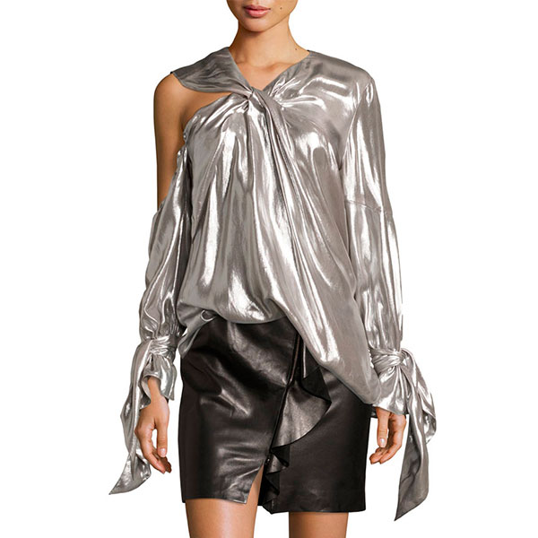 Iro Agata Lamé Blouse - metallic top, silver top, metallic blouse, silver blouse, metallic bell sleeve top, silver bell sleeve top, silver bell sleeve blouse