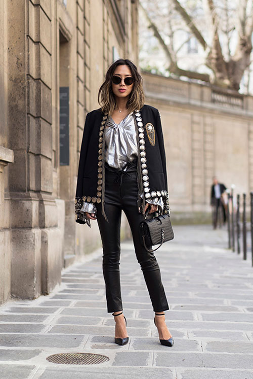 The Metallic Top, Two Ways: Fashion blogger 'Song Of Style' wearing a black embellished blazer, a silver blouse, black leather pants, black ankle strap heels, a black croc bag and black cat eye sunglasses. Spring outfit, fall outfit, party outfit, night out outfit, office outfit, work outfit, fashion week outfit, street chic style, spring fashion trends 2017, fall fashion trends 2017, fashion trends 2017, statement sleeves outfit