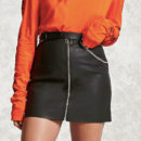 Forever21 Faux Leather Mini Skirt - black leather mini skirt, black leather zip mini skirt, black zip leather mini skirt