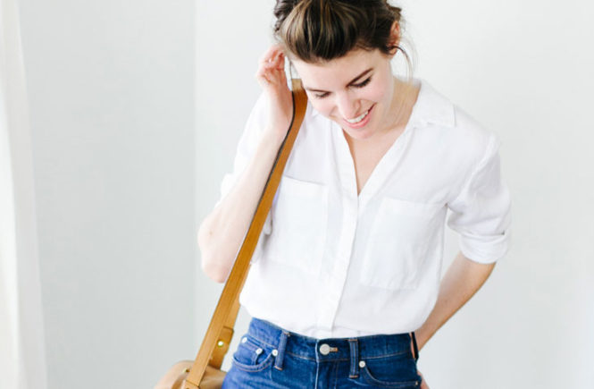20 Simple Summer Outfits For The Minimal Girl: Fashion bloger 'Un-Fancy' wearing a white shirt, cuffed denim shorts, white sneakers and a brown shoulder bag. Summer outfits, simple outfits, easy outfits, simple summer outfits, easy summer outfits, minimal outfits, fashion trends 2017, summer fashion trends 2017, casual outfits, white shirt outfits, denim shorts oufits, white sneakers outfits.