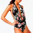 Vince Camuto Tropical-Print Plunge Swimsuit - black plunge swimsuit, black plunge one piece, floral print swimsuit, floral print one piece, floral print plunge swimsuit, floral print plunge one piece
