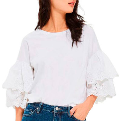 Eyelet Layer Sleeve Tee by Topshop