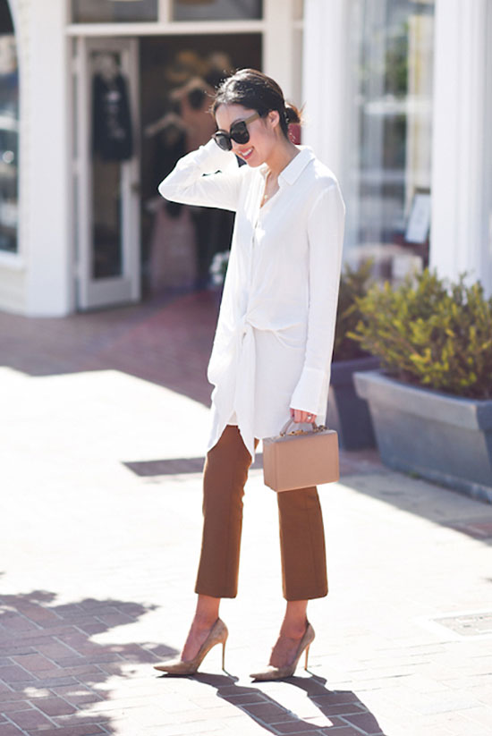 20+ Fresh & Chic Summer Work Outfits: Fashion blogger '9 to 5 Chic' wearing a white tie front tunic, brown crop pants, beige suede heels, black cat eye sunglasses and a beige handle mini bag. Work outfits, summer work outfits, outfits for work, office outfits, office wear, simple work outfits, work outfits 2017, spring work outfits.
