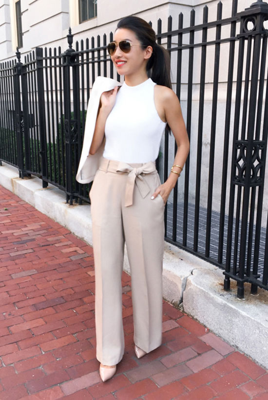 20+ Fresh & Chic Summer Work Outfits: Fashion blogger 'Extra Petite' wearing a white mock neck tank top, beige wide leg pants, beige heels, a white blazer and brown aviator sunglasses. Work outfits, summer work outfits, outfits for work, office outfits, office wear, simple work outfits, work outfits 2017, spring work outfits, for the office, work outfits for summer.