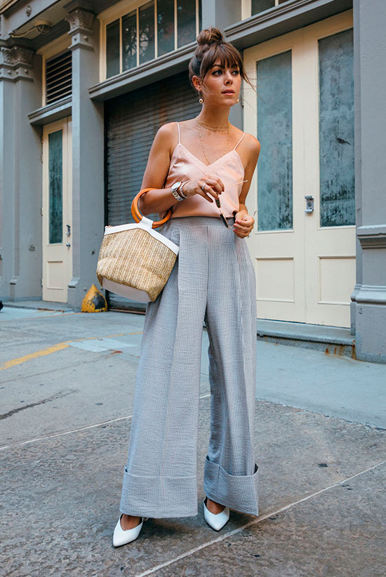 20+ Fresh & Chic Summer Work Outfits: Fashion blogger 'Margo & Me' wearing a blush cami top, grey wide leg pants, white pumps and a straw handbag. Work outfits, summer work outfits, outfits for work, office outfits, office wear, simple work outfits, work outfits 2017, fresh work outfits.