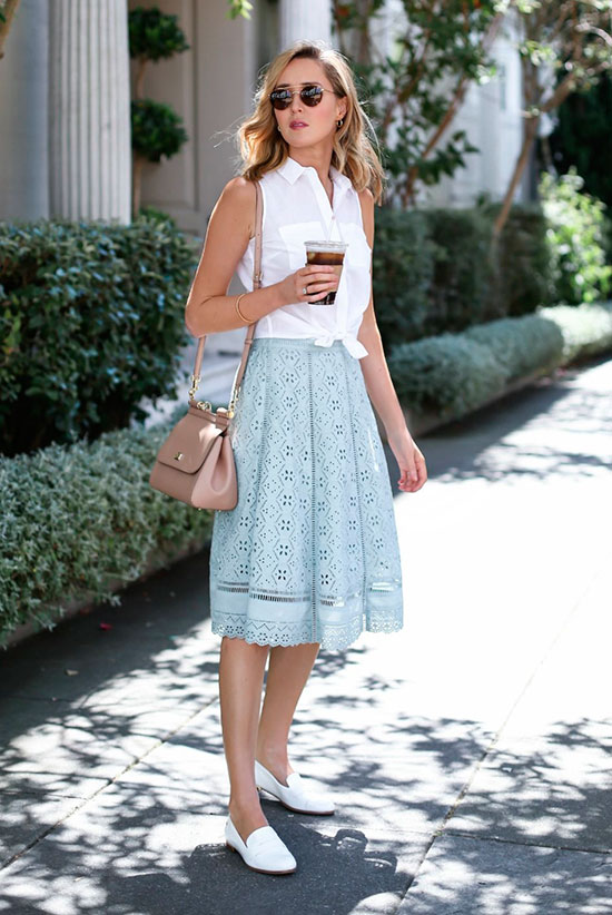20+ Fresh & Chic Summer Work Outfits: Fashion blogger 'Memorandum' wearing a white tie front sleeveless shirt, a mint lace midi skirt, white loafers, a blush shoulder bag and rounded aviator sunglasses. Work outfits, summer work outfits, outfits for work, office outfits, office wear, simple work outfits, work outfits 2017, comfy work outfits, fresh work outfits.