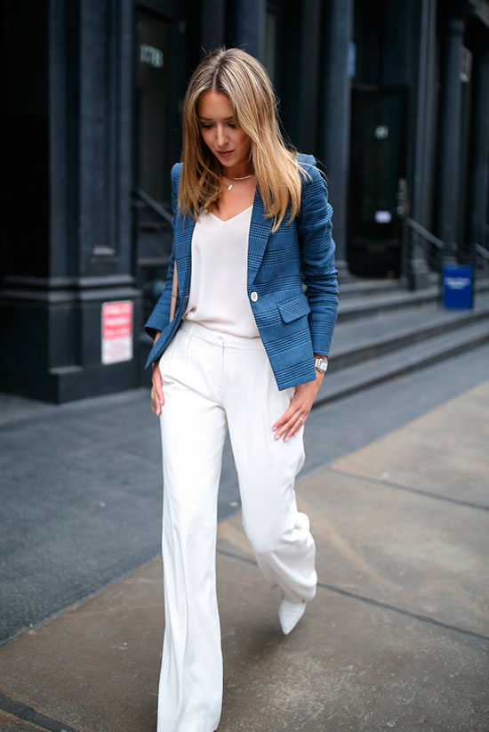20+ Fresh & Chic Summer Work Outfits: Fashion blogger 'Memorandum' wearing a blue blazer, a white cami top, white wide leg pants and white low block heel pumps. Work outfits, summer work outfits, outfits for work, office outfits, office wear, simple work outfits, work outfits 2017, spring work outfits, comfy work outfits.