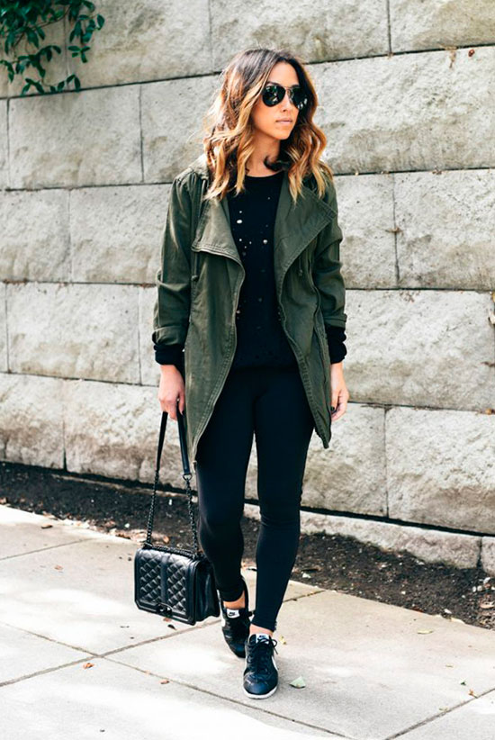 5 Ultra Comfy Sneakers Outfits Perfect For Fall: Fashion blogger 'Crystalin Marie' wearing a utility jacket, a black sweatshirt, black legginges, black sneakers, black aviator sunglasses and a black chain strap bag. Fall outfits, comfy outfits, sneakers outfits, athleisure, athleisure outfits, weekend outfits, back to school outfits, casual outfits, travel outfits, nike cortez sneakers, nike cortez outfits.