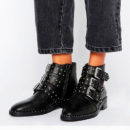 ASOS ASHER Leather Studded Ankle Boots - black booties, black buckle booties, black studded booties, black combat boots