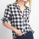 GAP Drapey flannel shirt - black plaid shirt, black buffalo plaid shirt, black checkered shirt