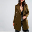 Boohoo Double Breasted Military Coat - khaki coat, military coat