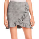 AQUA Ruffled Plaid Skirt - grey plaid mini skirt, gray plaid wrap skirt