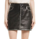 FRAME Studded Leather Miniskirt - black leather mini skirt