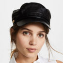 Hat Attack Leather Emmy Cap - black leather cap, black cap, black baker boy cap