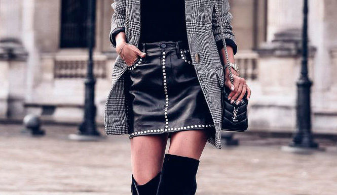 40 Ultra-Chic Fall Outfits To Try Right Now: Fashion blogger 'Viva Luxury' wearing a black baker cap, a grey plaid blazer, a black turtleneck sweater, a black leather mini skirt, black velvet thigh high boots and a black chain strap bag. Fall outfits, fall fashion trends 2017, fall fashion, street style, trendy outfits, night out outfits, party outfits, chic outfits.