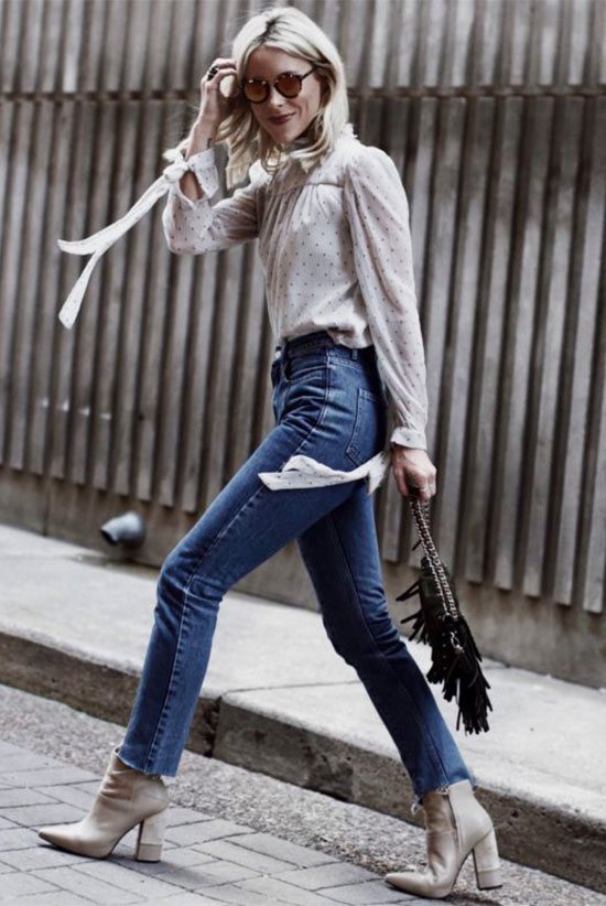 40 Ultra-Chic Fall Outfits To Try Right Now: Fashion blogger 'Happily Grey' wearing a white printed victorian blouse, skinny jeans, ivory booties, black round sunglasses and a black fringe bag. Fall outfits, fall fashion trends 2017, fall fashion, street style, simple outfits, casual outfits, dinner outfits, work outfits, office outfits.