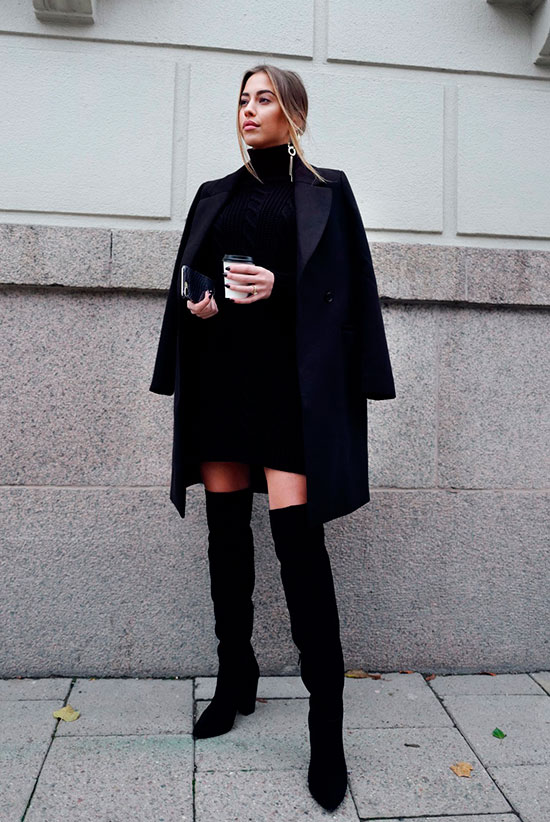 40 Ultra-Chic Fall Outfits To Try Right Now: Fashion blogger 'Kenza' wearing a black coat, a black turtleneck sweater dress, black velvet over the knee boots and a black clutch. Fall outfits, fall fashion trends 2017, fall fashion, street style, all black outfits, party outfits, dinner outfits, night out outfits, casual outfits.
