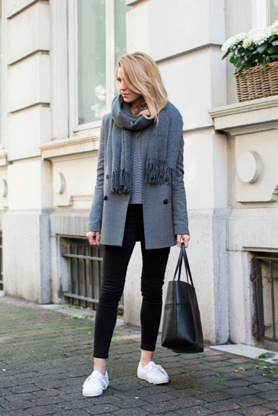 40 Ultra-Chic Fall Outfits To Try Right Now: Fashion blogger 'Make Life Easier' wearing a grey coat, a grey sweater, black leggings, white sneakers, a grey scarf and a black tote bag. Fall outfits, fall fashion trends 2017, fall fashion, street style, simple outfits, easy outfits, comfy outfits, casual outfits, sneakers outfits.