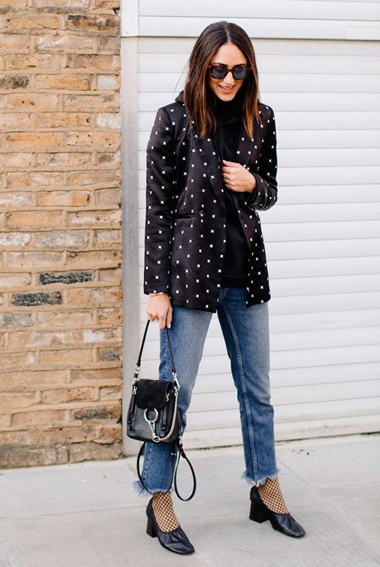 40 Ultra-Chic Fall Outfits To Try Right Now: Fashion blogger 'Soraya Bakhtiar' wearing a black embroidered blazer, a black turtleneck sweater, raw hem crop jeans, fishnet tights, black block heel pumps, black sunglasses and a black flap shoulder bag. Fall outfits, fall fashion trends 2017, fall fashion, street style, casual outfits, work outfits, office wear, dinner outfits, night out outfits.