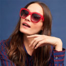 Anthropologie Ruby Red Square Glasses - red sunglasses, red square sunglasses
