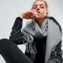 ASOS Lambswool Oversized Scarf with Tassels - grey scarf, grey oversized scarf