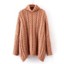 Shein Cable Knit Turtleneck Oversized Sweater - camel oversized sweater, camel cable knit sweater, camel turtleneck sweater