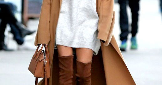 The Longline Camel Coat, Two Ways: Hailey Baldwin wearing a long camel coat, a grey sweater dress, brown over the knee boots and a brown shoulder bag. Fall outfits, winter outfits, sweater dress outfits, over the knee boots outfits, camel coat outfits, casual outfits, simple outfits, easy outfits, street style.