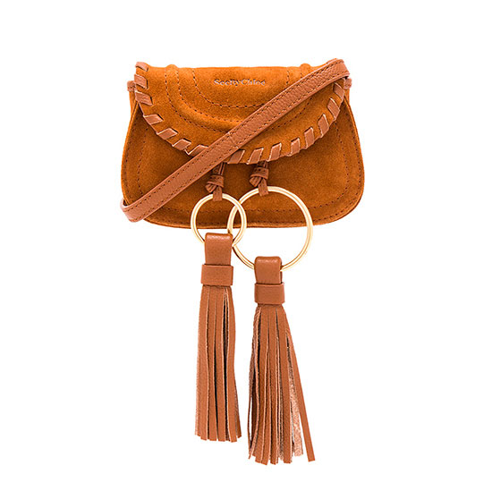 See by Chloe Polly Mini Bag - brown belt bag, brown tassel belt bag, brown fanny pack, brown tassel fanny pack, brown leather belt bag, brown leather fanny pack, chloe belt bag