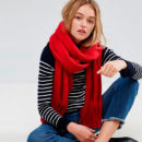 ASOS Long Tassel Scarf in Supersoft Knit - red scarf
