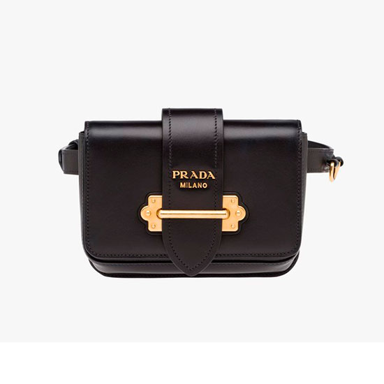 Prada Cahier Belt Bag - black belt bag, leather belt bag, black fanny pack, black leather fanny pack
