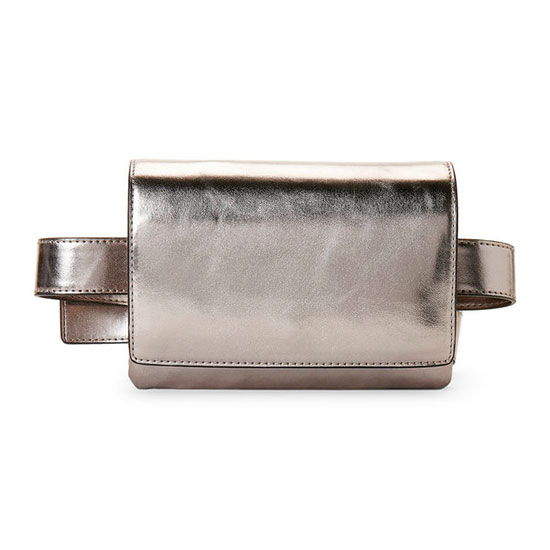 French Connection Charlotte Belt Bag - metallic belt bag, metallic fanny pack, silver belt bag, silver fanny pack, leather belt bag
