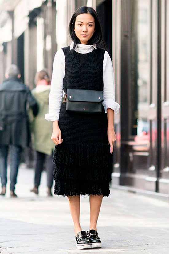 Sleek Ways To Style The Modern Fanny Pack: Woman wearing a black sleeveless midi dress over a white shirt, black platform loafer and a black belt bag. Fanny pack, fanny pack outfit, belt bag, belt bag outfit, fashion trends 2018, fashion, fashion 2018, street style, casual outfit, fall outfit, spring outfit, work outfit, office wear, black & white outfit.