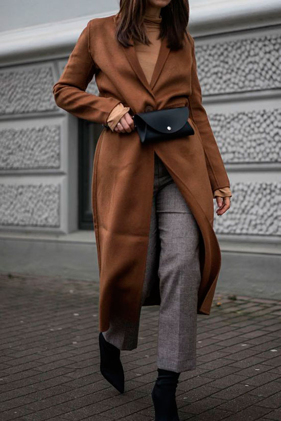 Sleek Ways To Style The Modern Fanny Pack: Fashion blogger 'SARAHVONH' wearing a brown kimono, a brown turtleneck sweater, grey crop trousers, black sock boots and a black belt bag. Fanny pack, fanny pack outfit, belt bag, belt bag outfit, fashion trends 2018, fashion, fashion 2018, street style, casual outfit, winter outfit, winter work outfit.